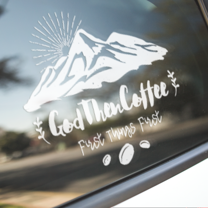 God Then Coffee Signature Car Window Decals