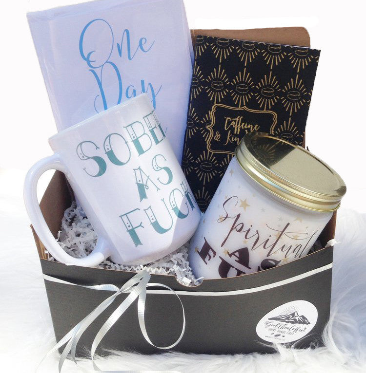 Recovery gift basket for sobriety gifts
