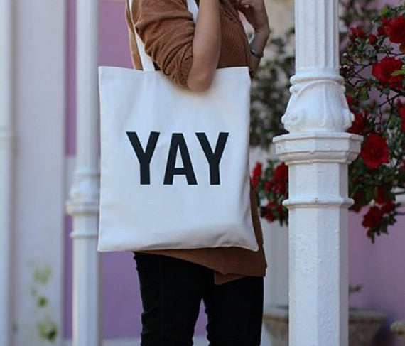 YAY cotton tote bag - God Then Coffee