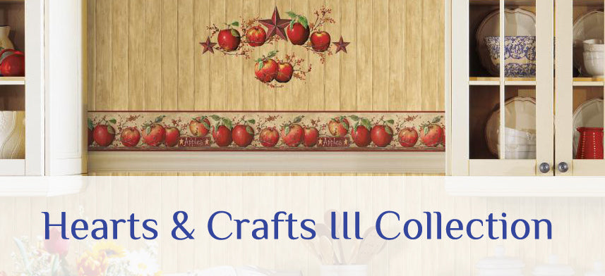 "About Wall Decor's ""Three Sisters Studio Hearts & Crafts III"" Wallpaper Collection"