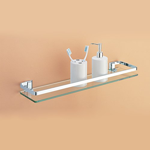 Organize It All Wall Mounting Glass Shelf with Chrome Finish and Rail