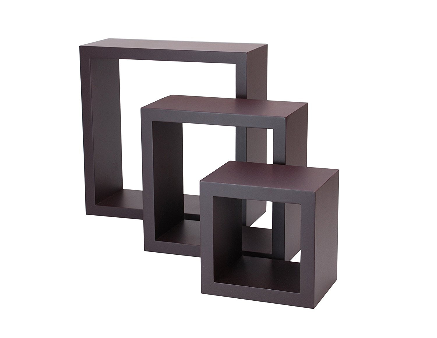kiera grace cubbi contemporary floating wall shelves 5 by 5 inch 7 by 7 inch 9 by 9 inch black set of 3