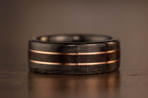 wooden wedding ring double gold inlay
