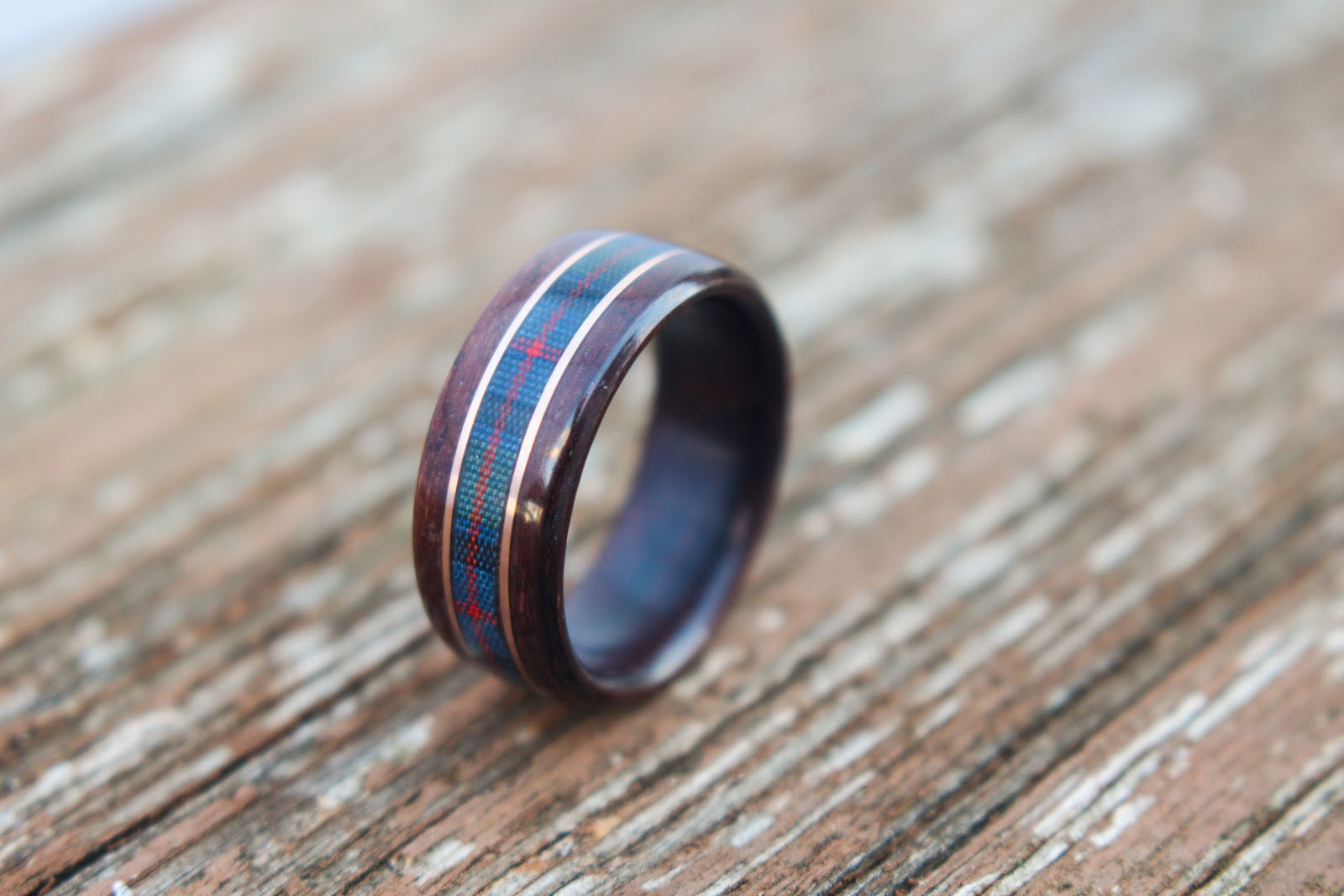 wooden wedding ring with tartan center inlay