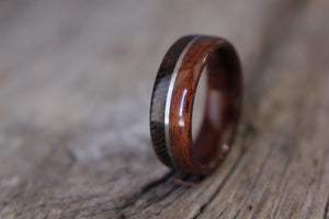 WWI ring with springfield 1903 rifle stock wood and uniform wool