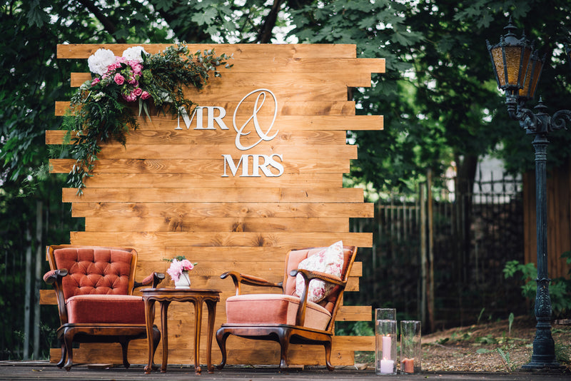 mr. and mrs. wedding wall