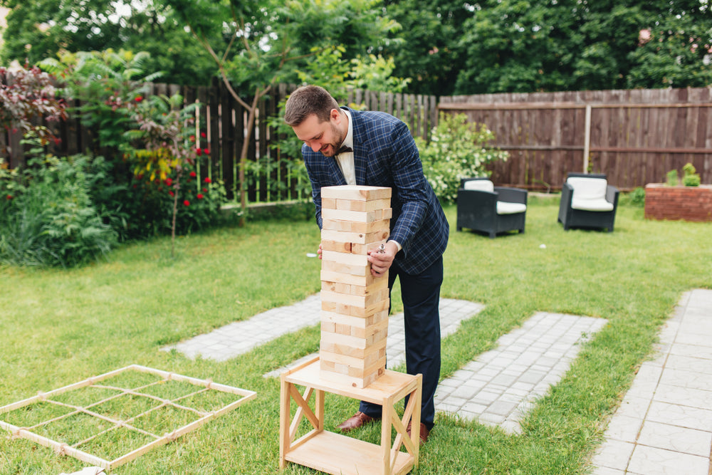 wedding lawn games for guests giant jenga