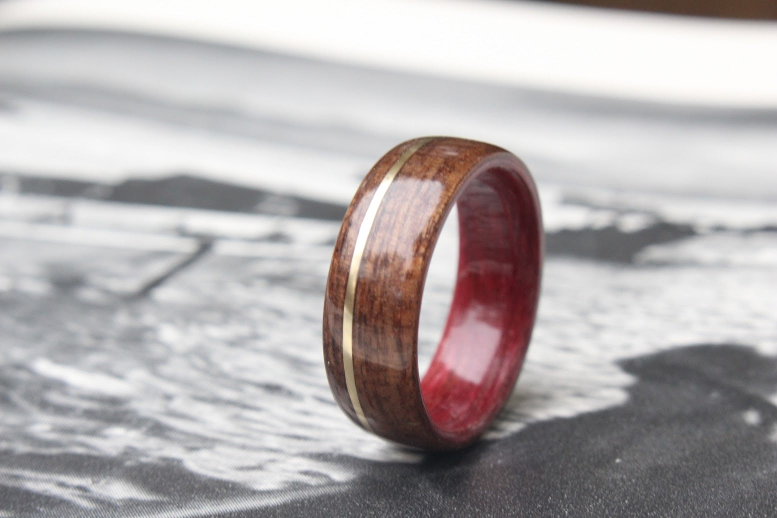 purpleheart wood ring with offset gold inlay