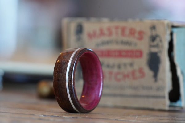 purple heart wood wedding ring silver