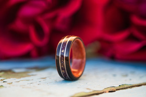 women's rosewood ring with rose petals and double gold inlay