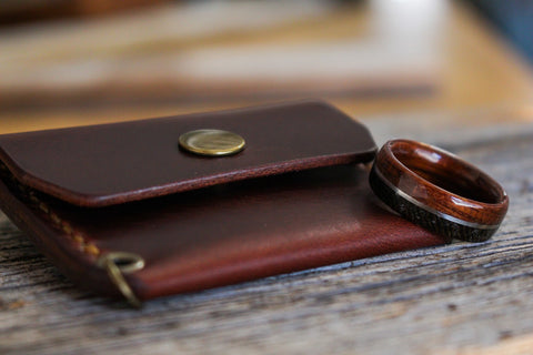 leather ring wallet with WWI ring
