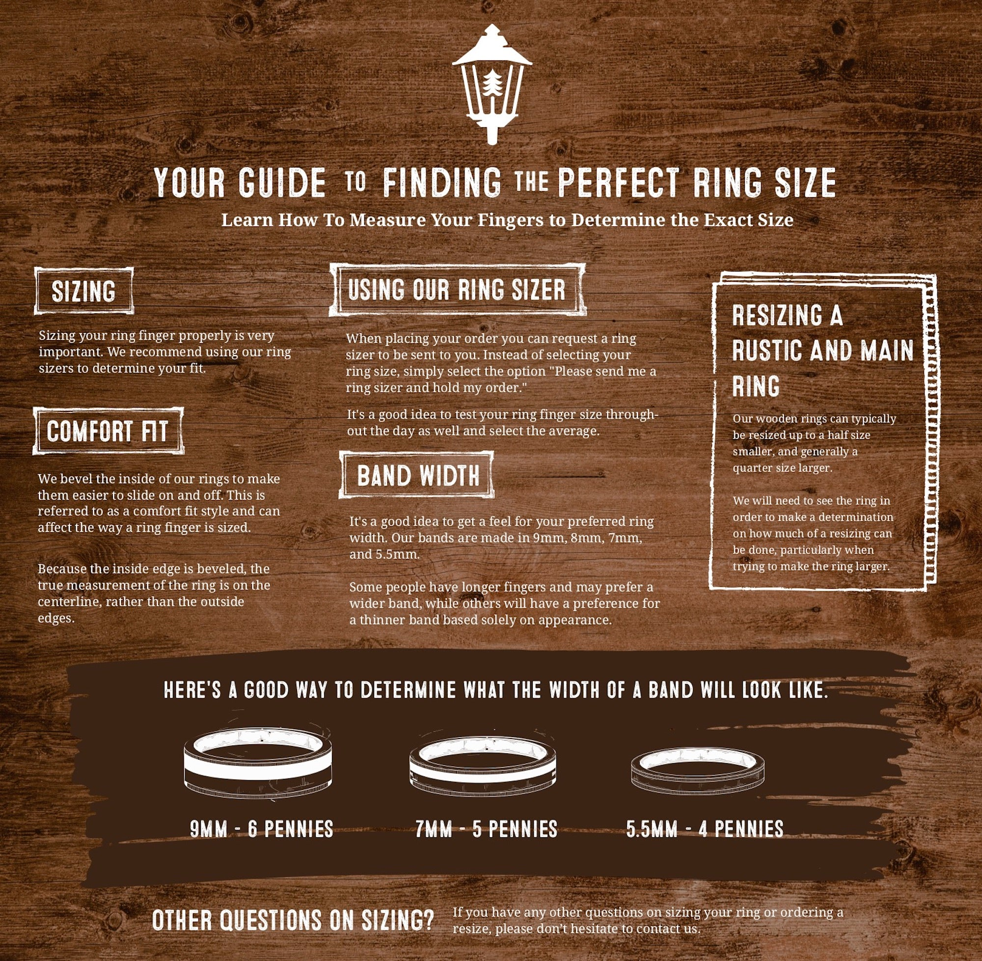 rustic and main ring size infographic