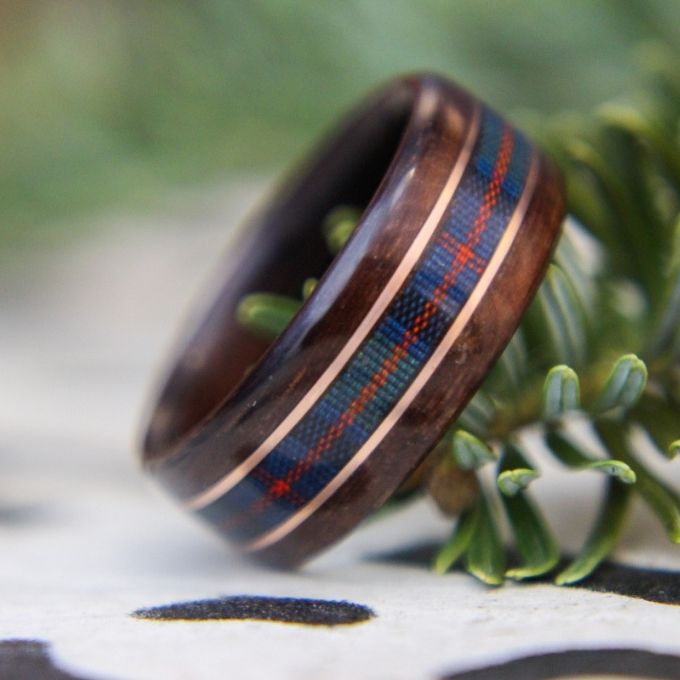 Scottish Irish Tartan Wood Wedding Ring Rustic and Main