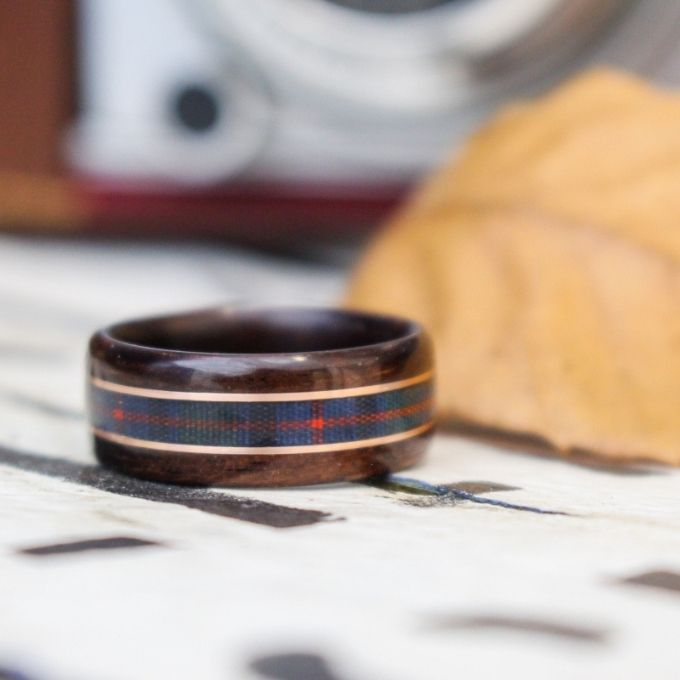 Tartan Wood Wedding Ring Rustic and Main