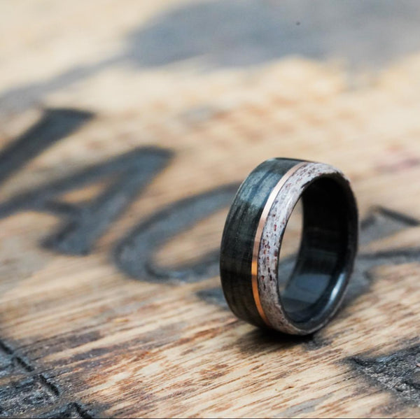 Jack Daniel's whiskey barrel ring with elk antler and rose gold