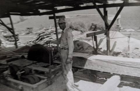 Pap working at the saw mill