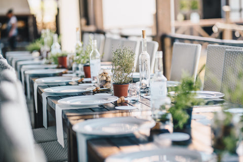 eco friendly wedding decoration potted plants on table