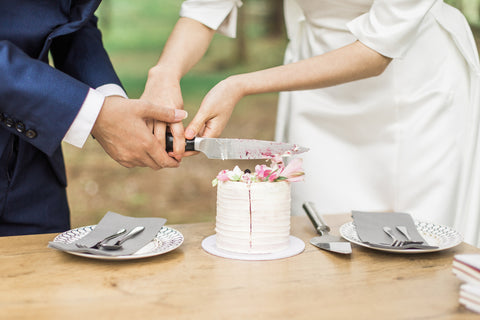 bride and groom cutting mini wedding cake