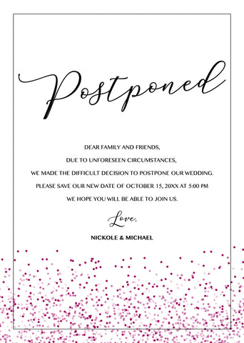 postponing our wedding announcement example