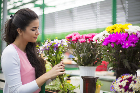 woman picking out wedding flowers