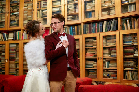 wedding in a library