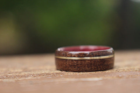 purpleheart wood ring with m1 garand rifle stock and gold inlay