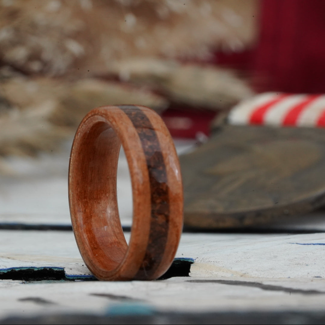 (In-Stock) Natural Black Cherry Wood Wedding Ring with 1950's Coffee Inlay Size 7.25/6.5mm