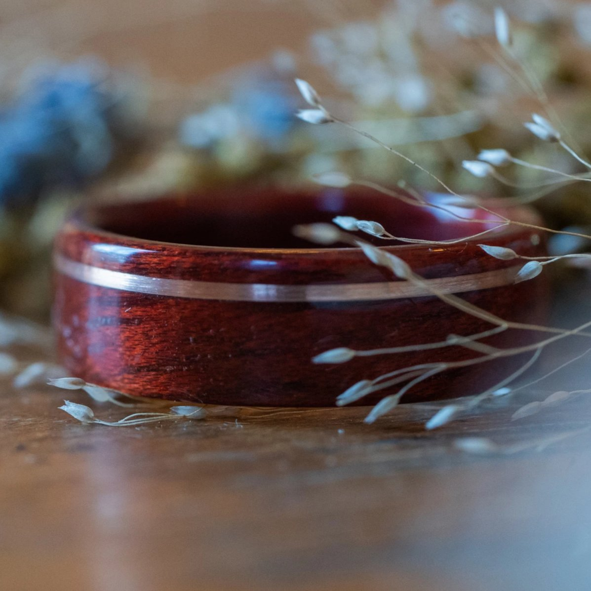 (In-Stock) Bloodwood with Offset Silver Inlay- Size 10/9 mm Wide
