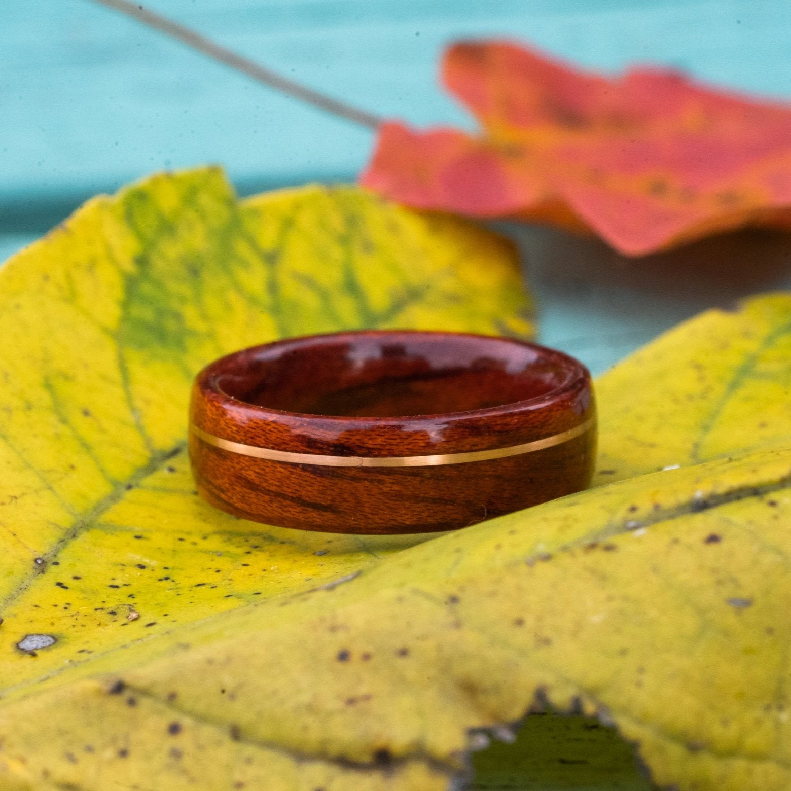 (In-Stock) Bloodwood with Offset Rose Gold Inlay- Size 6.75/7 mm Wide