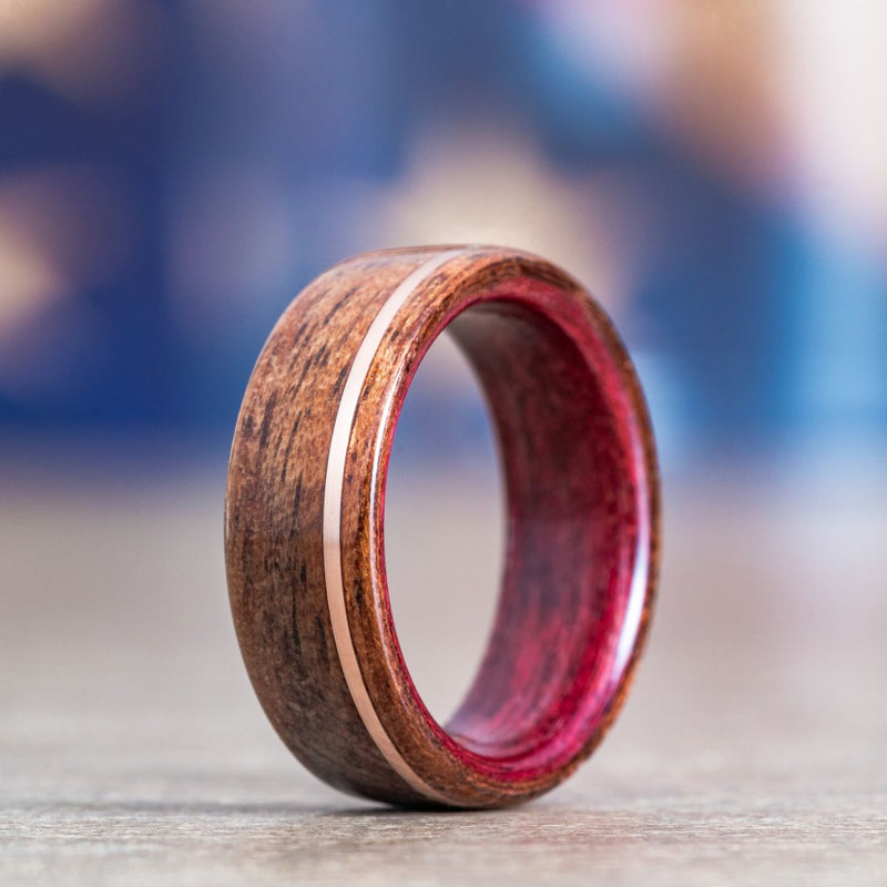 Purple Heart Wood Wedding Ring with M1 Garand WWII Rifle Stock and Gold