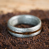 (In-Stock) Weathered Maple & Coffee w/Dual White Gold - Size 8.5 /8mm Wide