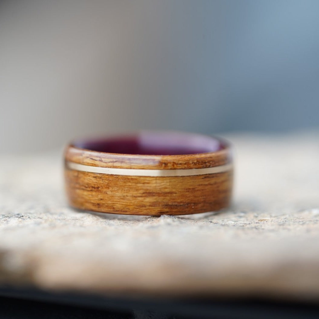(In-Stock) USS Missouri Teak & Purple Heart LIner w/Offset Yellow Gold Inlay - Size 9/8mm Wide
