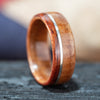 (In-Stock) Mesquite with Offset Silver Inlay and Blood Wood Edge- Size 9.5 / 9mm Wide