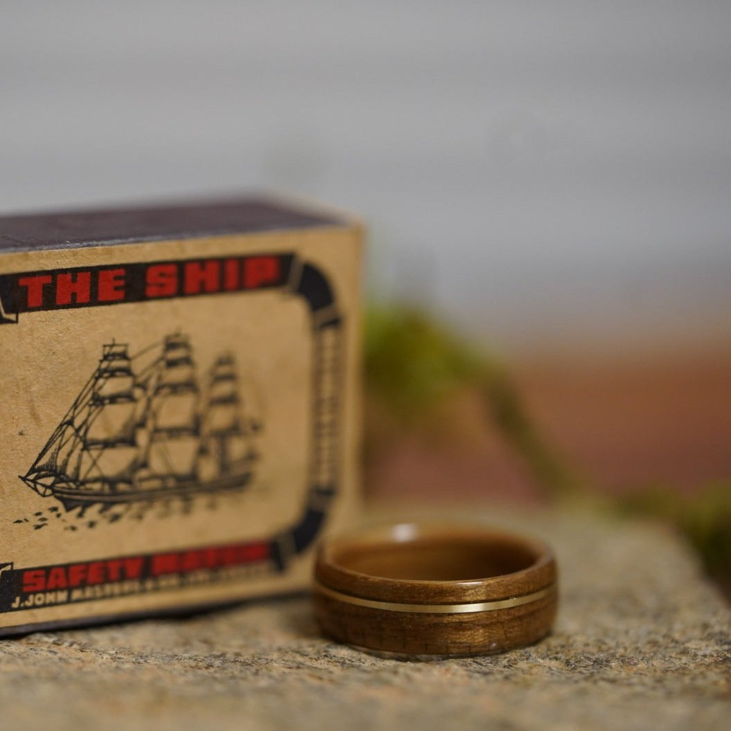 (In-Stock) USS North Carolina Teak & Whiskey - Makers Mark w/Offset Brass Inlay - Size 9.25/7 mm Wide