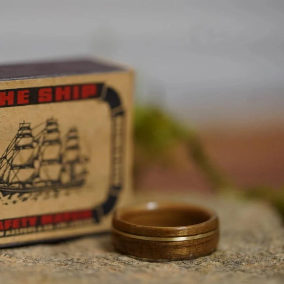 (In-Stock) USS New Jersey Teak & Jim Beam w/Offset Brass - Size 8/8mm Wide
