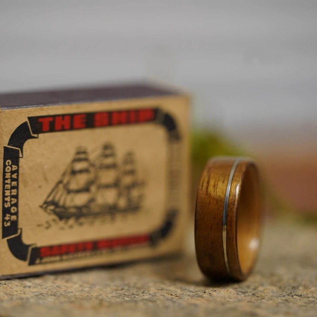 (In-Stock) USS New Jersey Teak &  Maker's Mark w/Offset White Gold Inlay - Size 11.5/ 9mm Wide