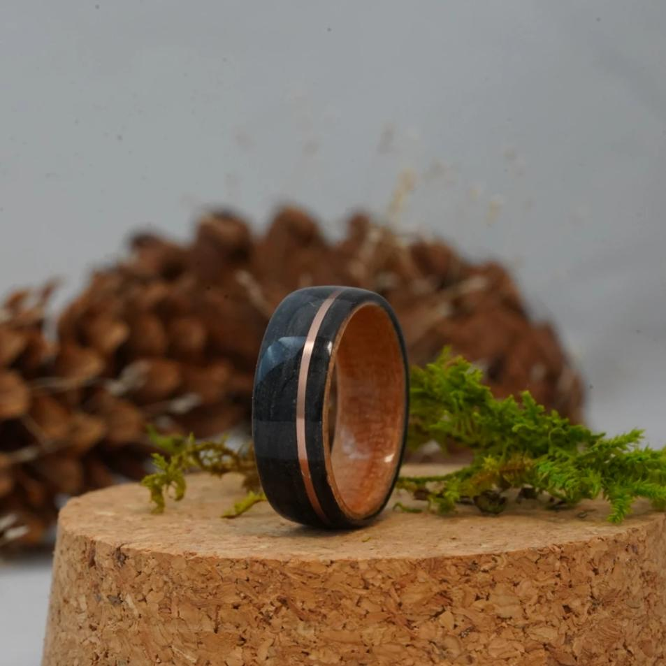 (In-Stock) Weathered Buffalo Trace Whiskey Barrel/Natural Black Cherry Liner w/Rose Gold Inlay - Size 8.75/8 mm Wide