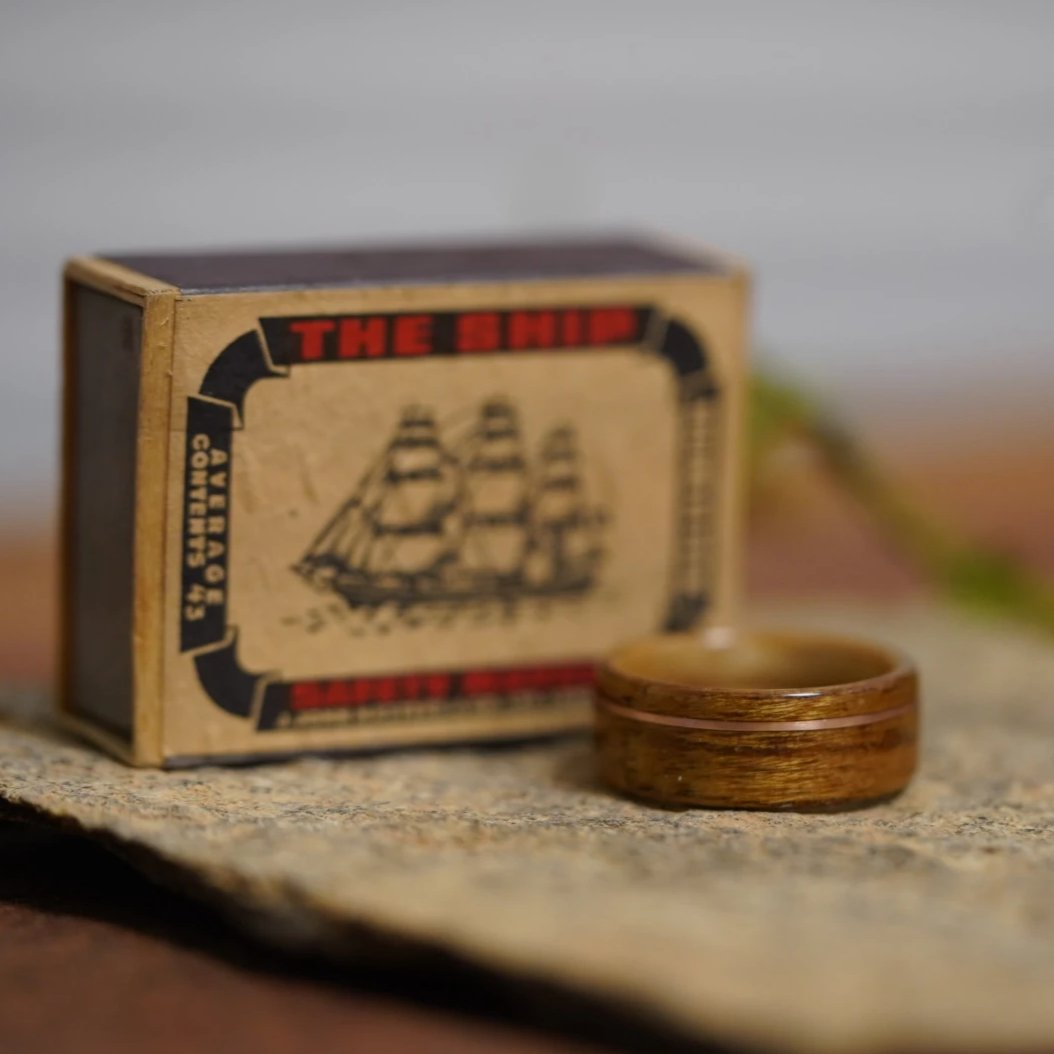 (In-Stock) USS New Jersey Teak & Maker's Mark w/Offset Rose Gold Inlay - Size 7.5/ 8mm Wide
