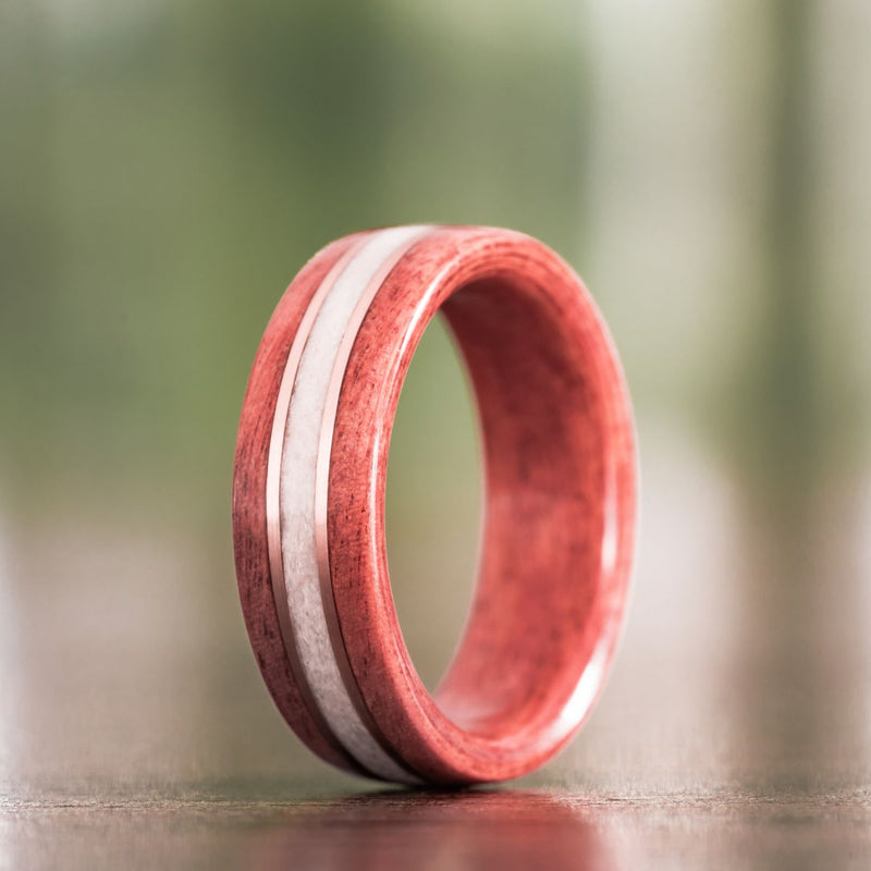 Women's Pink Ivory Wedding Band with Elk Antler and Dual Gold Inlay