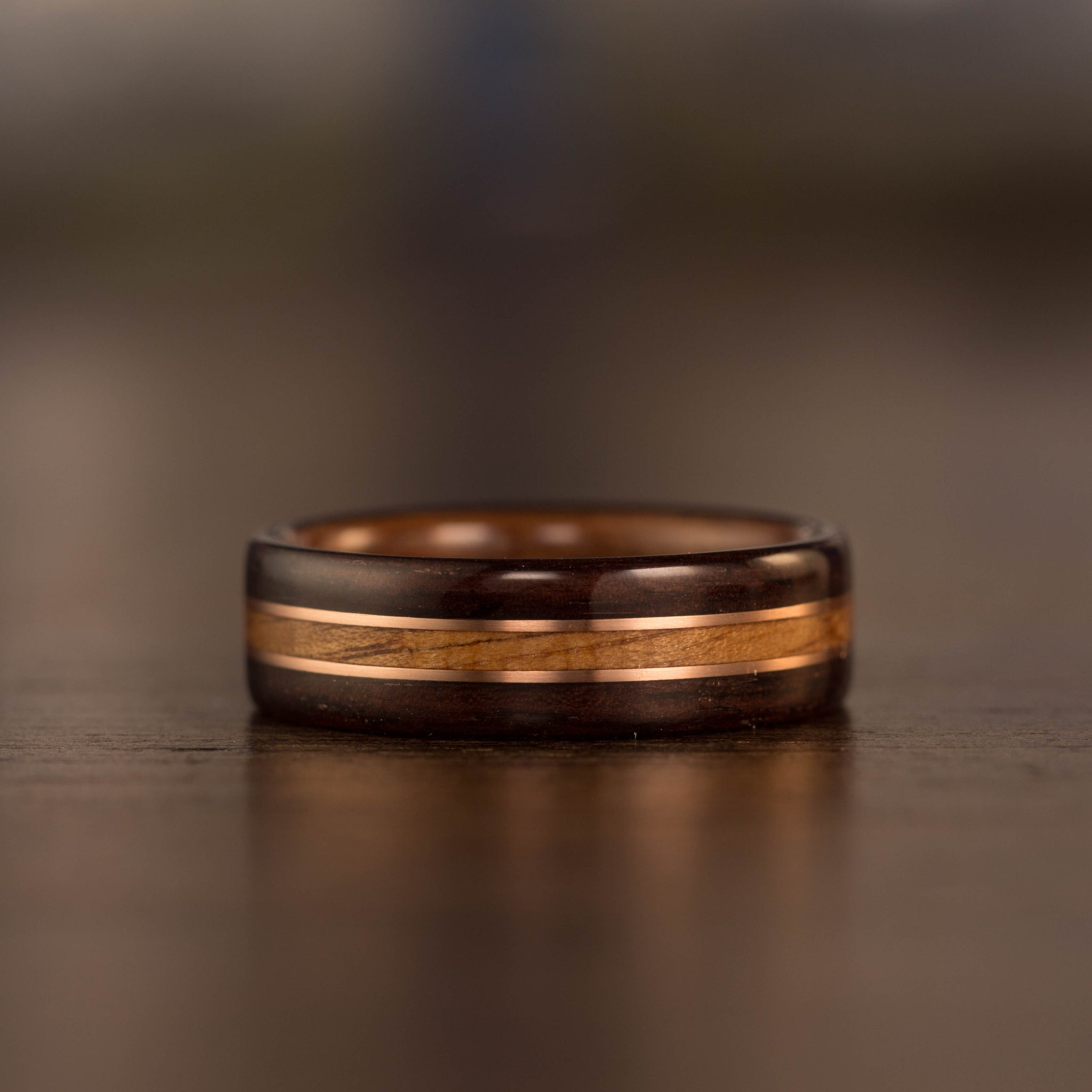 (In Stock) Rosewood w/ Antique Walnut & Rose Gold Inlays  Size 10.5/7mm