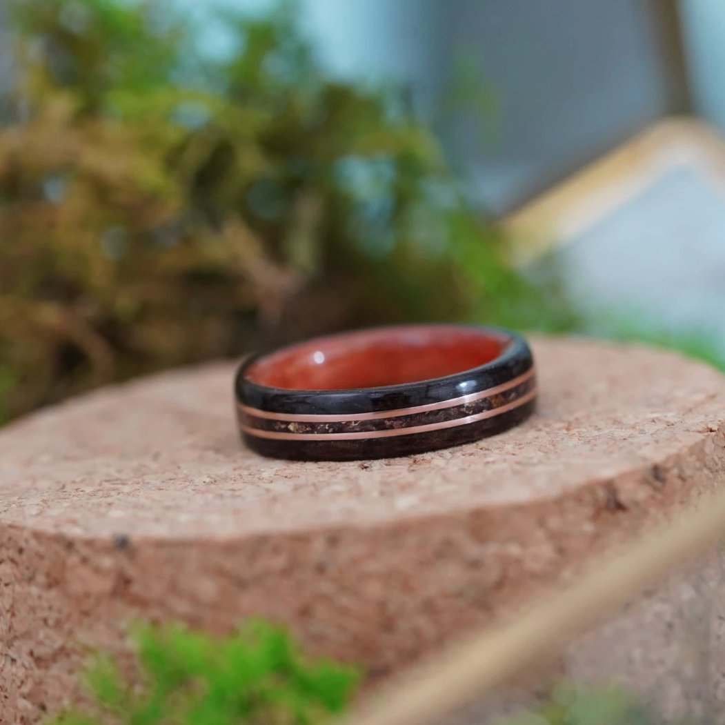 (In Stock) Rosewood & Pink Ivory w/Crushed Roses and Rose Gold Inlays  Size 6.5/5.5mm