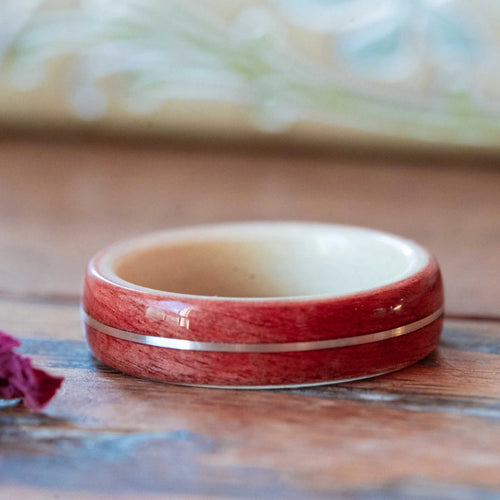 Women's Pink Ivory Wedding Band with Holly and Center Gold Inlay