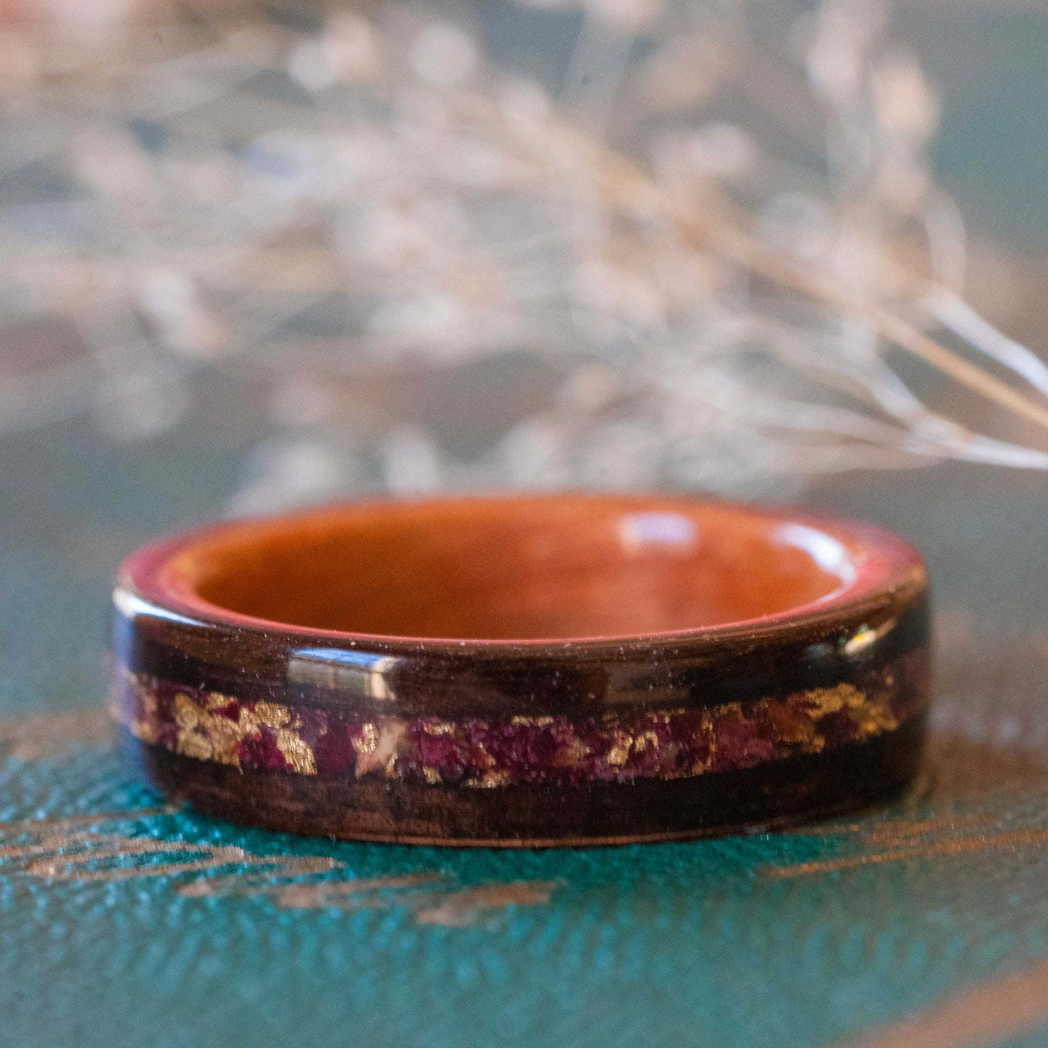 Women's Rosewood & Pink Ivory Wedding Band with Crushed Roses and Gold Inlay