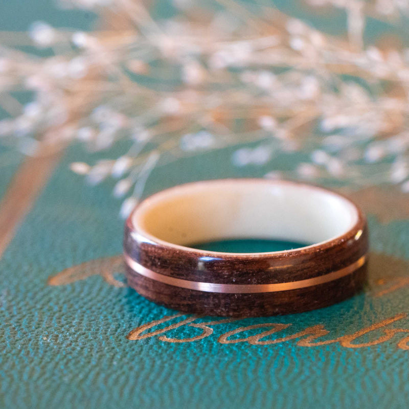 Women's Antique Walnut Wedding Band with Holly and Center Gold Inlay
