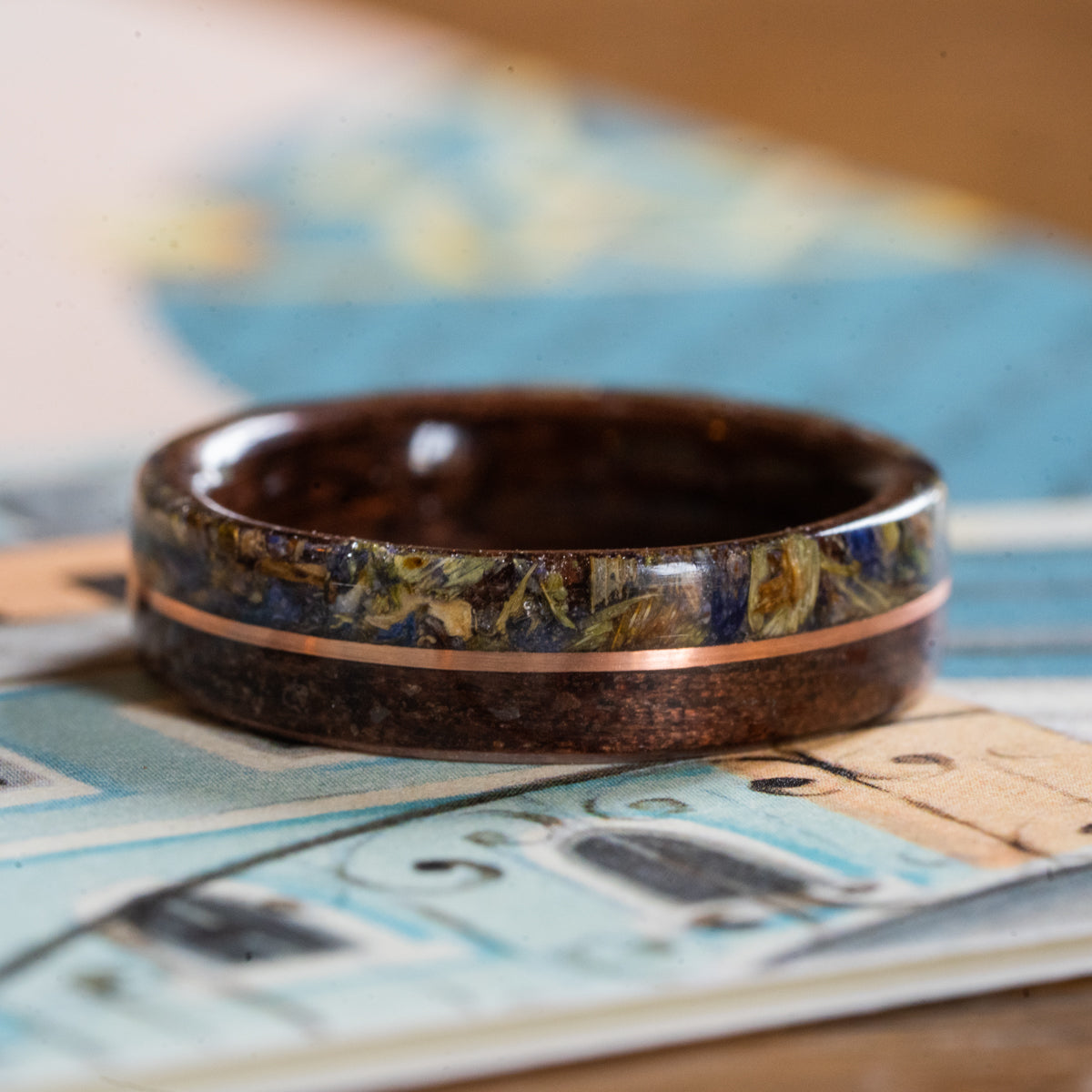 Women's Antique Walnut Wedding Band with Lavender Flowers and Center Gold Inlay