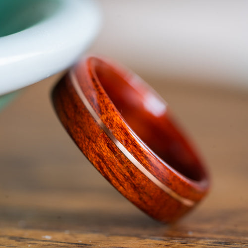 Women's Bloodwood Wedding Band with Offset Gold Inlay