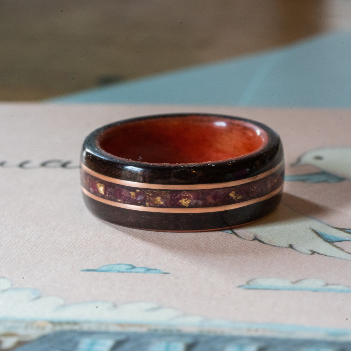 Women's Rosewood Wedding Band with Roses and Dual Gold Inlays