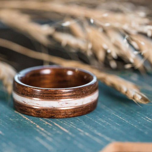 Walnut Wood Wedding Band with Elk Antler and Rose Gold