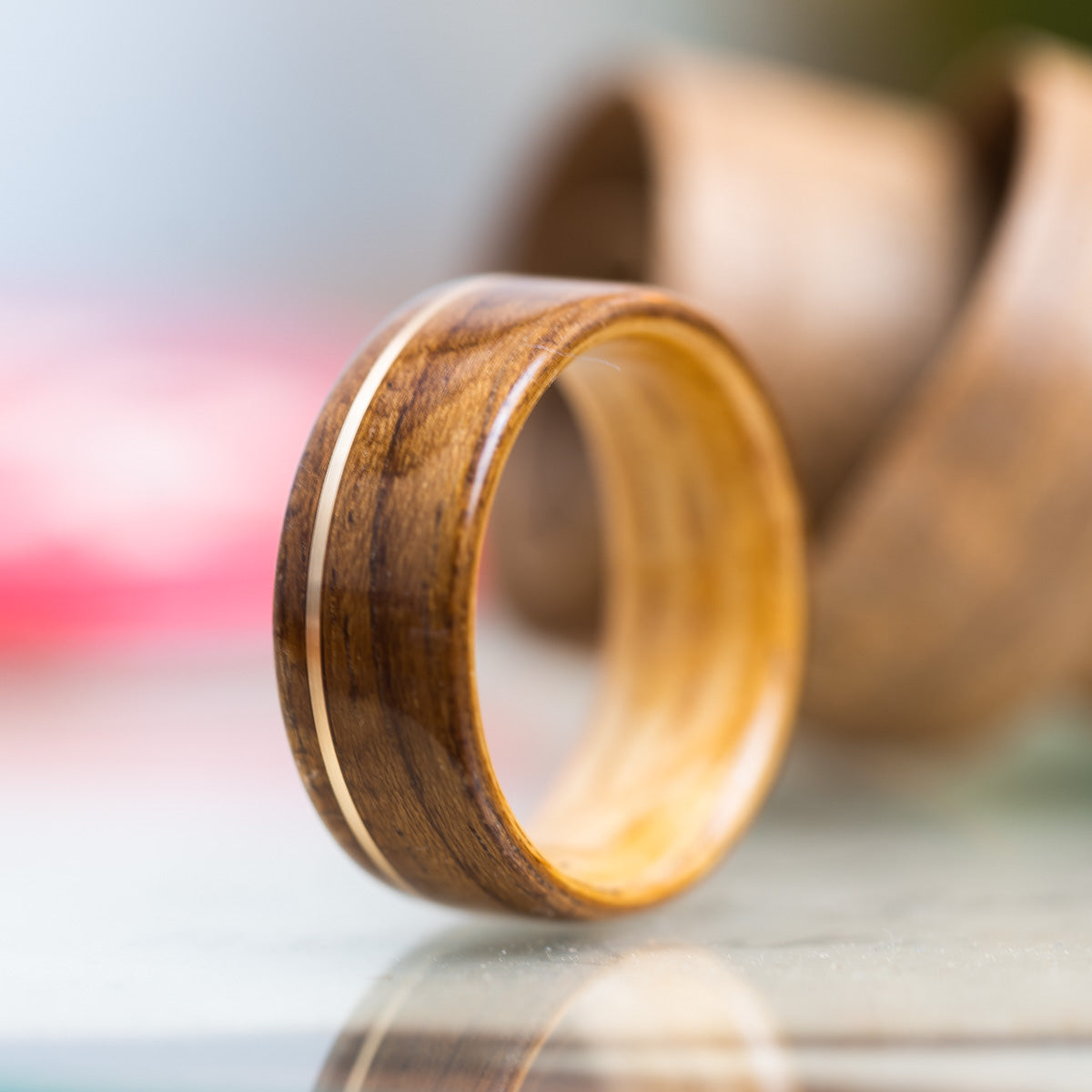 USS New Jersey Teak Wood Wedding Ring with Whiskey Barrel