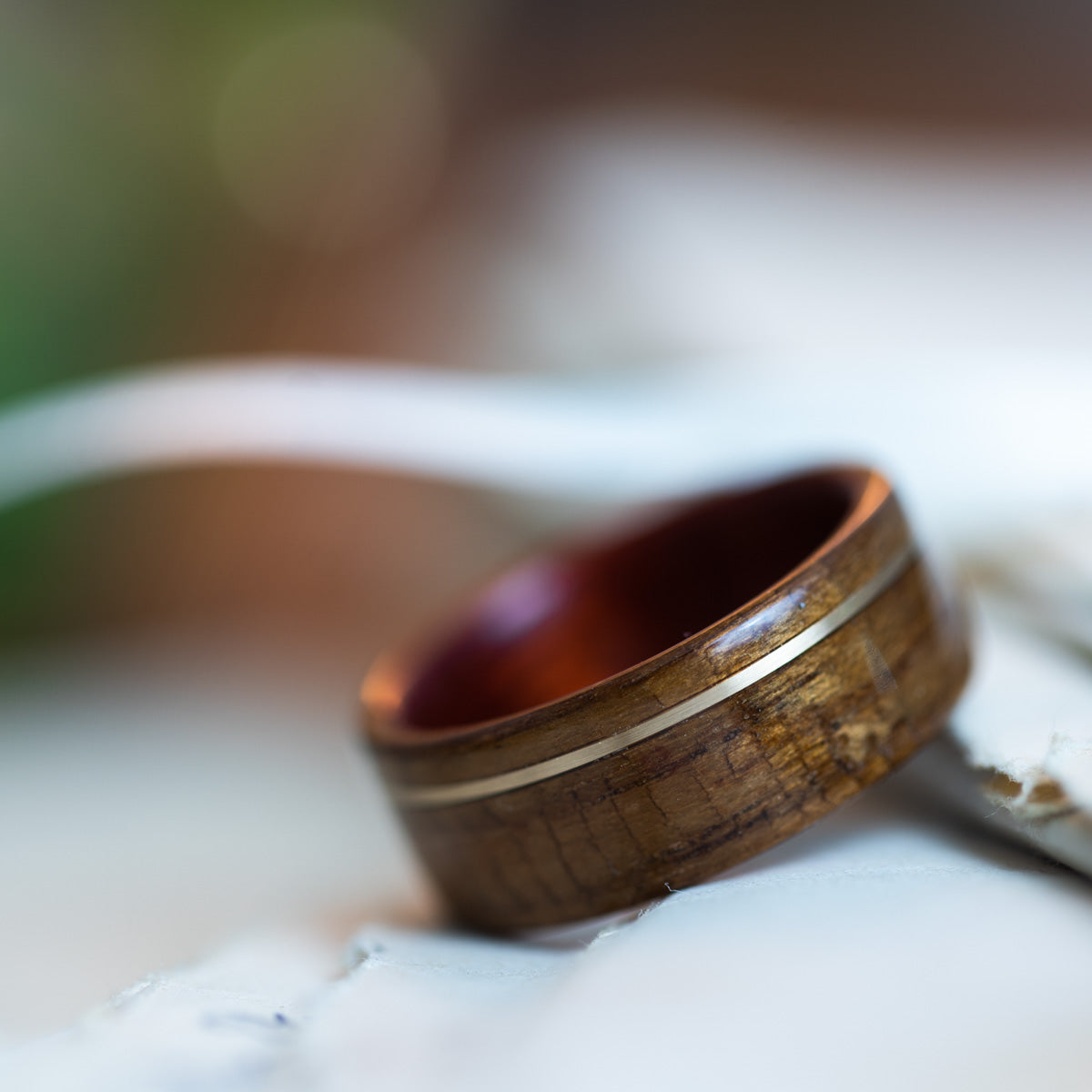 USS New Jersey Teak Wood Wedding Ring with Bloodwood